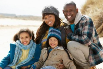 Family sitting on a beach