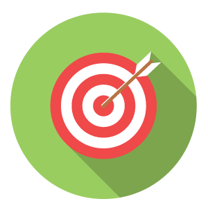 Cartoon image of an arrow in the middle of an archery target