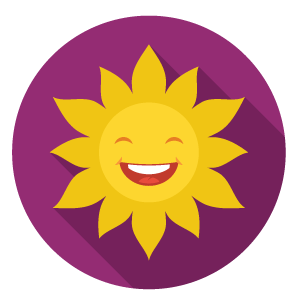 Cartoon image of a sun smiling