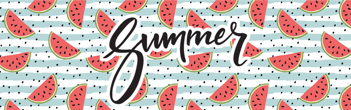 A repeating pattern of watermelon slices on a blue and white striped background