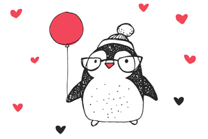 glasses balloon penguin drawing