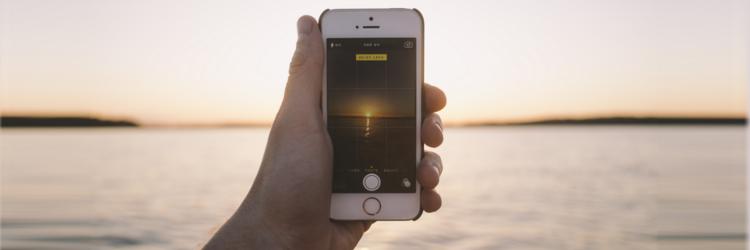 using camera phone to photograph lake