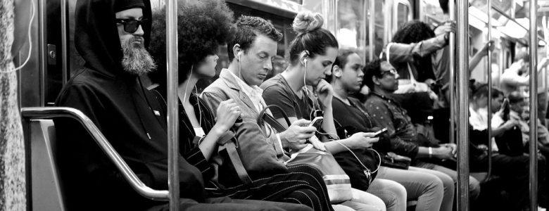 busy cummuter subway car