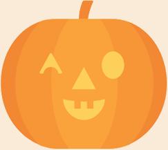 carved pumpkin winking