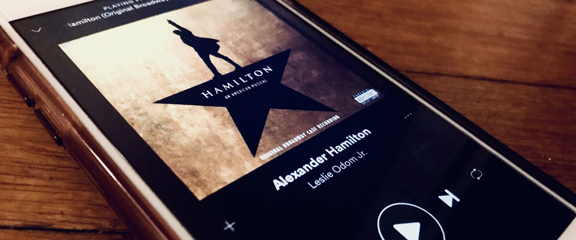 Hamilton cast recording playing on a phone